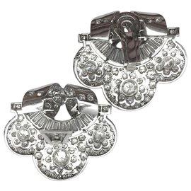 inconnue-Boucles d'oreilles Art Deco en platine, brillants et diamants baguettes.-Autre
