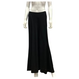 Yves Saint Laurent-Pantalon en viscose fluide noir-Noir