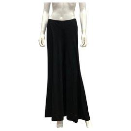 Yves Saint Laurent-Black fluid viscose trousers-Black