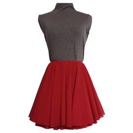 Autre Marque-Jupe courte avec jupon couture T.32-34voire 36 VINTAGE 80's-Rouge