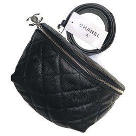 Chanel-CHANEL SAC CEINTURE EN CUIR GRAINÉ NOIR / NEUF JAMAIS SERVI !!!-Noir