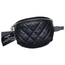 Chanel-CHANEL BLACK / NEW GRAINED LEATHER BELT BAG NEVER SERVED !!!-Black