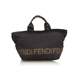 Fendi-Nylon Handbag-Brown,Black
