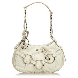 Yves Saint Laurent-Leather Shoulder Bag-White,Golden,Cream