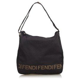 Fendi-Nylon Shoulder Bag-Brown,Black,Beige