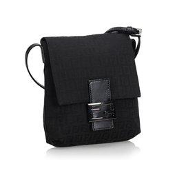Fendi-Zucchino Canvas Crossbody Bag-Black