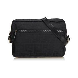Fendi-Jacquard Zucca Crossbody Bag-Black