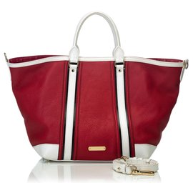 Burberry-Cartable Jameson en cuir-Blanc,Rouge