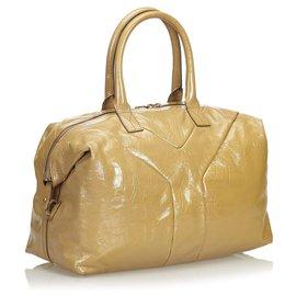 Yves Saint Laurent-Leather Easy Boston Bag-Brown,Beige