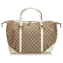 Gucci-GG Duffel Bag-Marron,Beige