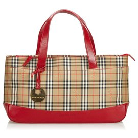 Burberry-Sac cabas en toile à carreaux-Marron,Multicolore,Beige