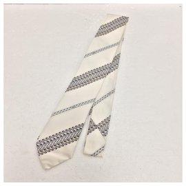 Emilio Pucci-Ivory white silk tie-White
