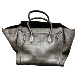Céline-Celine large phantom croc embossed leather-Black