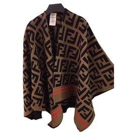 Fendi-Multicolour wool and silk poncho FF Fendi-Brown