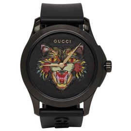 Gucci-MENS ANGRY CAT MOTIF BLACK RUBBER STRAP WATCH YA1264021-Black