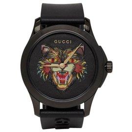 Gucci-MÄNNER ANGRY CAT MOTIF BLACK RUBBER RIEMEN UHR YA1264021-Schwarz
