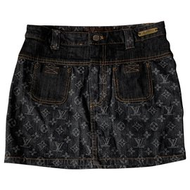 Louis Vuitton-Louis Vuitton mini skirt-Grey,Dark blue