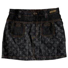 Louis Vuitton-Mini jupe Louis Vuitton-Gris,Bleu foncé