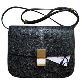 Céline-Rare! Stingray 24cm  with tags, Classic Box Bag-Black,Grey