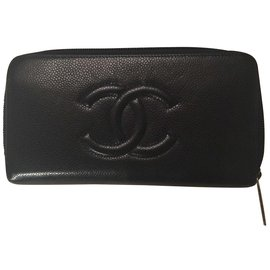 b3ed7423a74 Chanel-Portefeuille zippé Chanel bleu marine-Bleu Marine ...