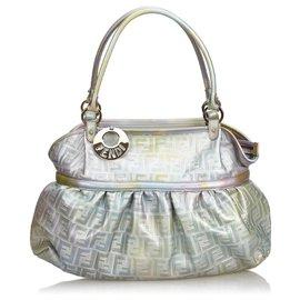 Fendi-Zucca Chef Metallic Leather Handbag-Silvery