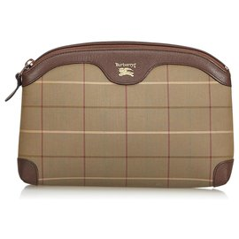 Burberry-Plaid Canvas Clutch Bag-Brown,Multiple colors,Khaki