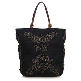 Fendi-Wood Embroidered Cotton Tote Bag-Black