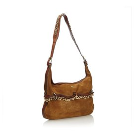 Burberry-Leather Chain Hobo Bag-Brown,Golden
