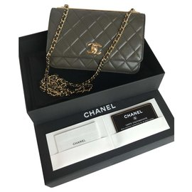 Chanel-With box, card Trendy WOC Flap Bag-Green,Khaki,Dark grey,Dark green