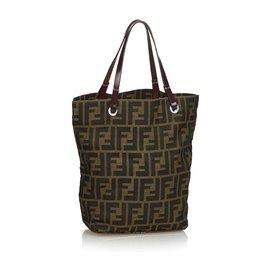 Fendi-Zucca Nylon Tote Bag-Brown,Light brown,Dark brown
