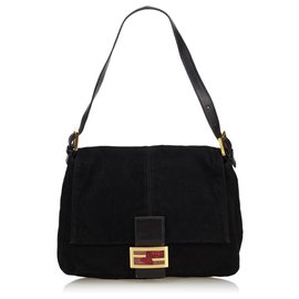 Fendi-Suede Mamma Forever Shoulder Bag-Black