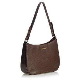 Burberry-Leather Shoulder Bag-Brown,Dark brown