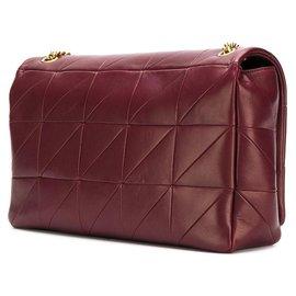 Yves Saint Laurent-Leather Jamie Shoulder Bag-Red,Dark red