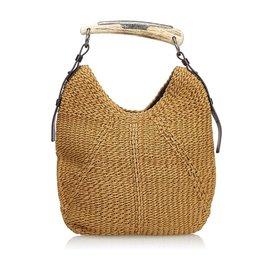 Yves Saint Laurent-Raffia Mombasa Handbag-Brown,Beige