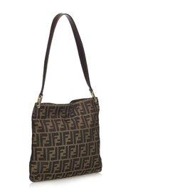 Fendi-Zucca Canvas Shoulder Bag-Brown