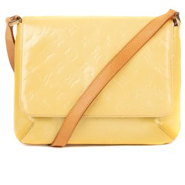 "Louis Vuitton-Sac Louis Vuitton ""Thompson Street"" en cuir verni monogrammé jaune !-Marron,Jaune"