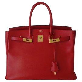 Hermès-HERMES BIRKIN BAG 35 Red-Red