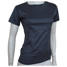 Céline-Céline Dark Grey Cotton Top T-Shirt Size S SMALL-Dark grey