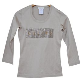 Céline-Céline Long Sleeve Rhinestone Embellished Grey Jersey Top T-Shirt Size S SMALL-Grey
