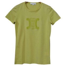 Céline-Céline Lime Green T-Shirt Tee Size S SMALL-Green