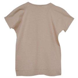 Céline-Céline Rhinestone Embellished Tan Cotton Top T-Shirt Size S SMALL-Caramel