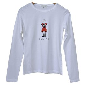 Céline-Céline Long Sleeve Rhinestone Embellished Jersey Top T-Shirt Size S SMALL-White