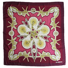 "Hermès-Square Hermes 100% Silk - Rare - Red scarf ""Les Éperons""-Pink,White,Red,Golden,Dark red,Bronze"