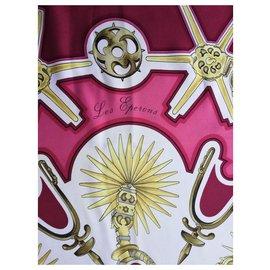 Hermès-Carré Hermès 100% Soie – Rare - Foulard rouge « Les Éperons »-Rose,Blanc,Rouge,Doré,Bordeaux,Bronze