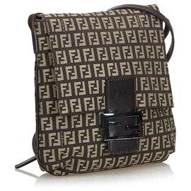 Fendi-Zucchino Canvas Crossbody Bag-Brown,Dark brown