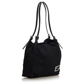 Fendi-Cotton Shoulder Bag-Black