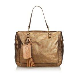 Chloé-Metallic Leather Eden Tote-Brown