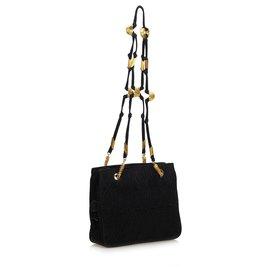 Fendi-Suede Shoulder Bag-Black