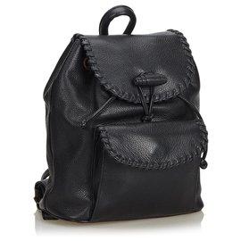 Yves Saint Laurent-Leather Drawstring Backpack-Black