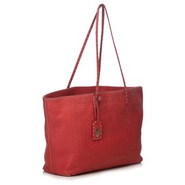 Fendi-Leather Selleria Embossed Tote-Red